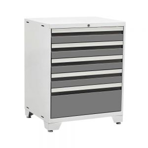NewAge Products Pro 3 Series 37 in. H x 28 in. W x 22 in. D 18-Gauge Welded Steel 5-Drawer Tool Cabinet in Platinum